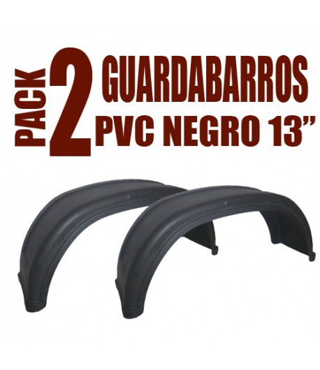 "Pack 2 guardabarros PVC 13"" Negro"