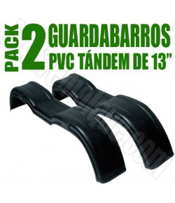 "Pack 2 guardabarros tándem PVC 13"" Negro"
